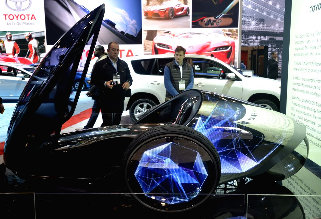 A Toyota FV2 Concept car is displayed on the press day of the 2014 New York International Auto Show in New York, the United States, April 16, 2014. Concept cars ..