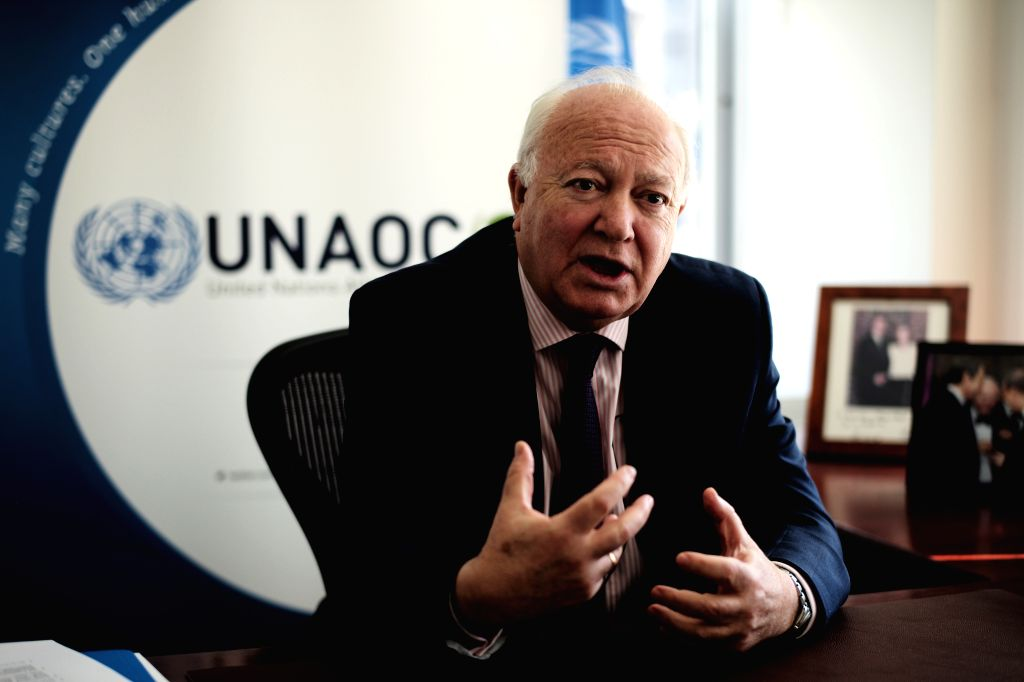 NEW YORK, April 24, 2019 - Miguel Angel Moratinos, High Representative for the United Nations Alliance of Civilizations (UNAOC), speaks during an interview with Xinhua in New York, the United States, ...