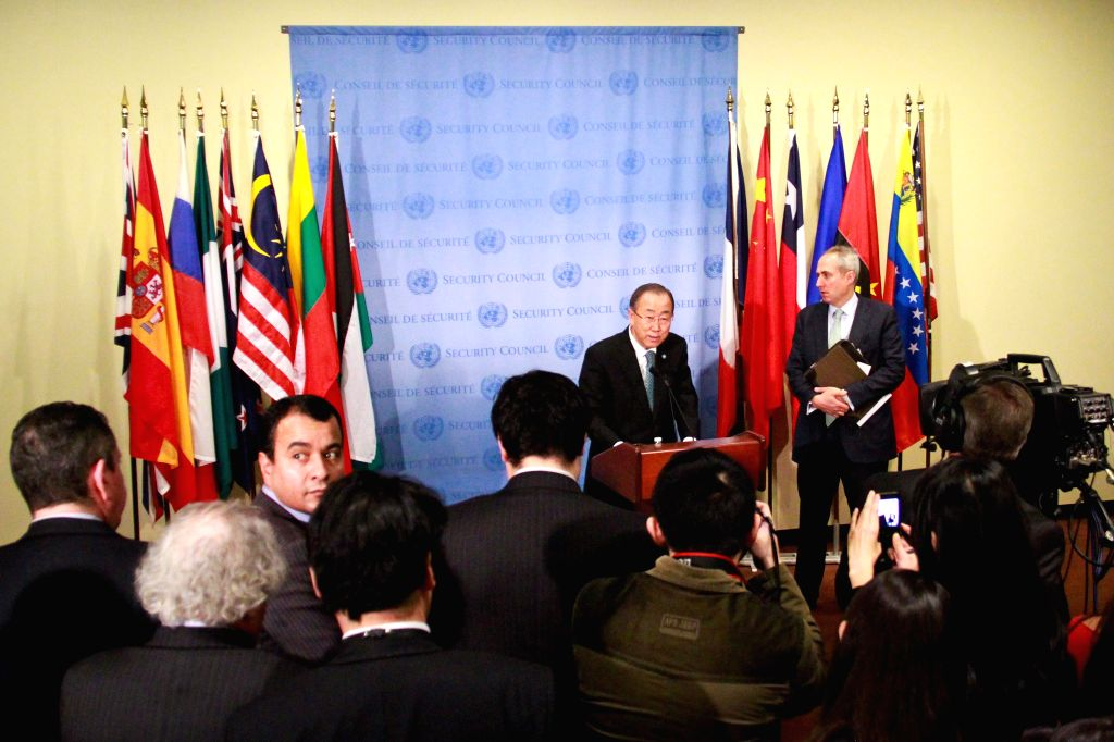 UN Secretary-General Ban Ki-moon addresses the media at the UN headquarters in New York on April 9, 2015. As violence continues to roil in Syria and Yemen, UN ...