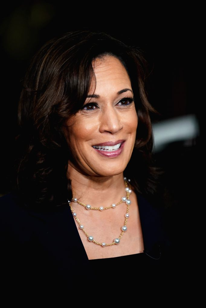 New York Aug. 11, 2020 File photo taken on June 28, 2019 shows Senator Kamala Harris of California interviewed after the second night of the first Democratic primary debate in Miami, ...
