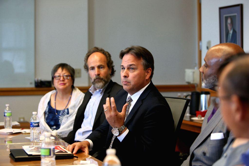 NEW YORK, Aug. 2, 2019 - Paul D. Orkwis (C), interim dean of College of Engineering and Applied Science at the University of Cincinnati, speaks during a meeting in Cincinnati, Ohio, the United ...