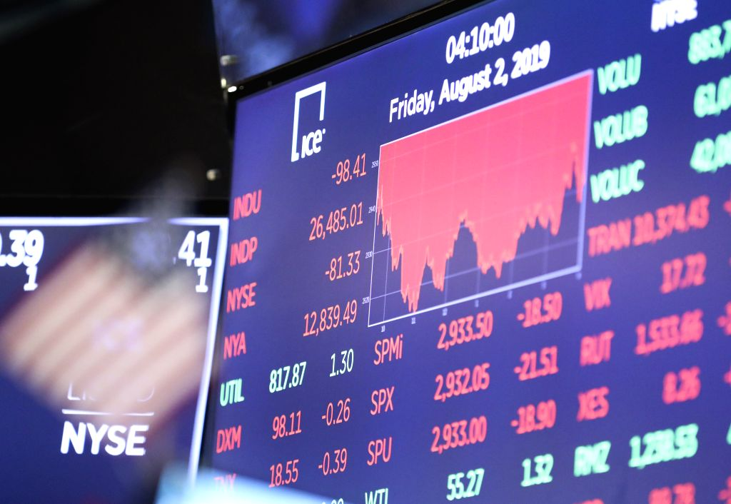 NEW YORK, Aug. 2, 2019 - Trading chart is seen on an electronic screen at the New York Stock Exchange in New York, the United States, Aug. 2, 2019. U.S. stocks ended lower on Friday, as investors ...