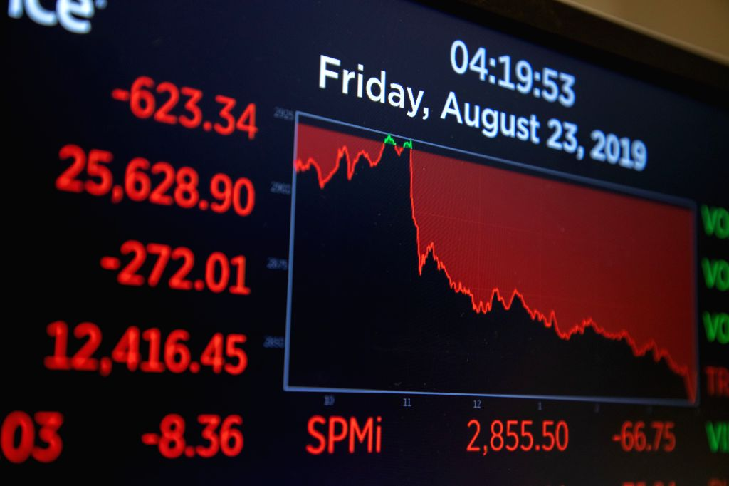 NEW YORK, Aug. 23, 2019 - Trading information is seen on an electronic screen at the New York Stock Exchange in New York, the United States, on Aug. 23, 2019. U.S. Stocks closed sharply lower on ...