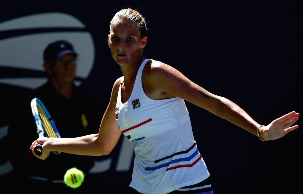 NEW YORK, Aug. 27, 2019 - Karolina Pliskova of the Czech Republic hits a return during the women's singles first round match between Karolina Pliskova of the Czech Republic and Tereza Martincova of ...