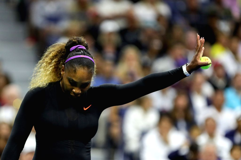 NEW YORK, Aug. 27, 2019 - Serena Williams of the United States reacts during the women's singles first round match between Serena Williams of the United States and Maria Sharapova of Russia at the ...