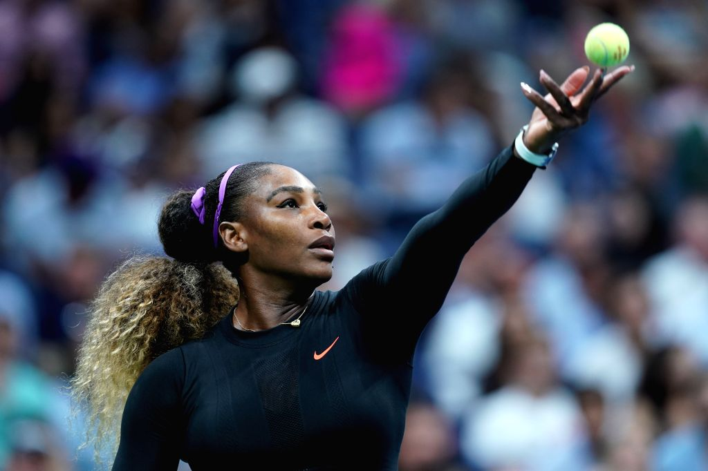 NEW YORK, Aug. 27, 2019 - Serena Williams of the United States serves during the women's singles first round match between Serena Williams of the United States and Maria Sharapova of Russia at the ...