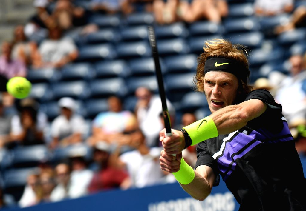 NEW YORK, Aug. 28, 2019 - Andrey Rublev of Russia hits a return during the men's singles first round match between Andrey Rublev of Russia and Stefanos Tsitsipas of Greece at the 2019 US Open in New ...