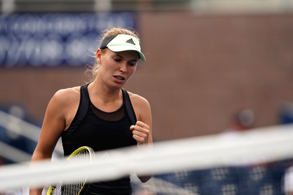 NEW YORK, Aug. 28, 2019 - Caroline Wozniacki of Denmark reacts during the women's singles first round match between Caroline Wozniacki of Denmark and Wang Yafan of China at the 2019 US Open in New ...