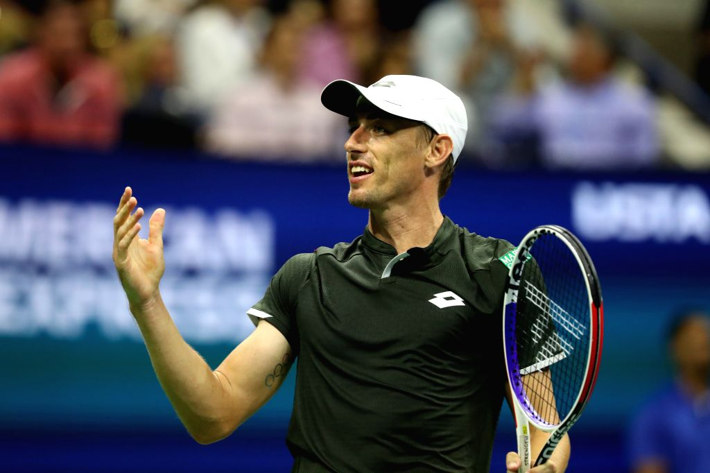 NEW YORK, Aug. 28, 2019 - John Millman of Australia reacts during the men's singles first round match between Rafael Nadal of Spain and John Millman of Australia at the 2019 US Open in New York, the ...