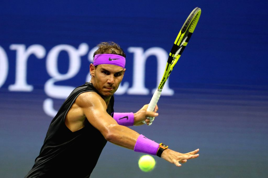 NEW YORK, Aug. 28, 2019 - Rafael Nadal of Spain competes during the men's singles first round match between Rafael Nadal of Spain and John Millman of Australia at the 2019 US Open in New York, the ...