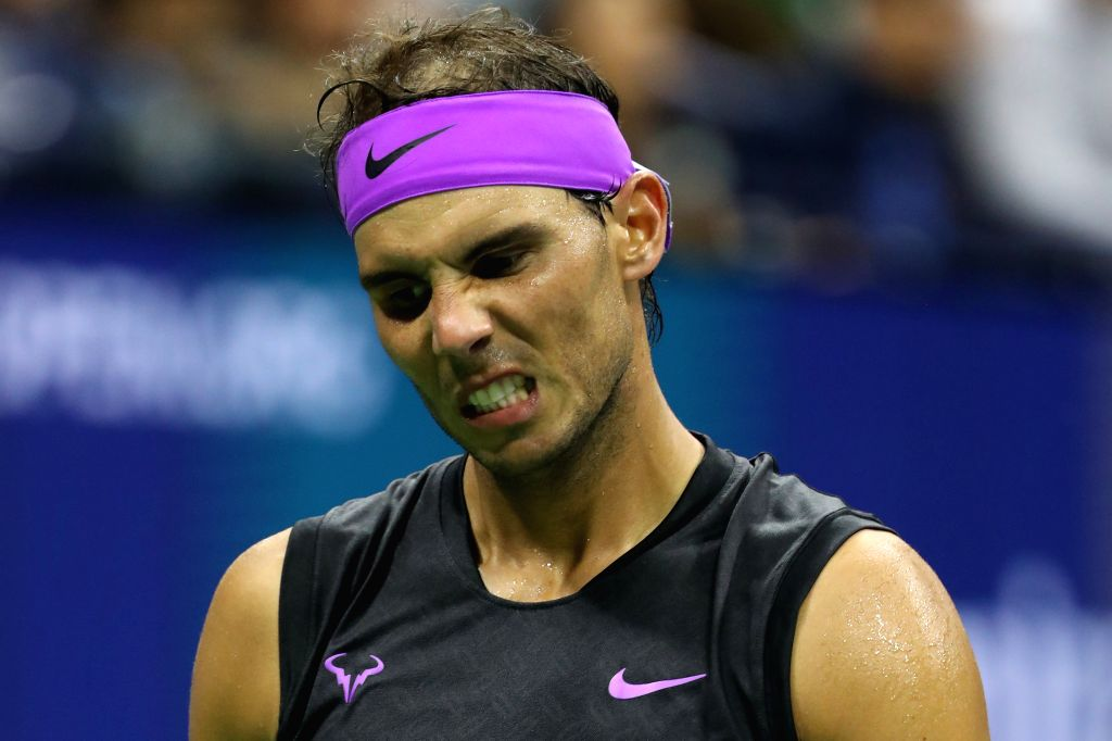 NEW YORK, Aug. 28, 2019 - Rafael Nadal of Spain reacts during the men's singles first round match between Rafael Nadal of Spain and John Millman of Australia at the 2019 US Open in New York, the ...