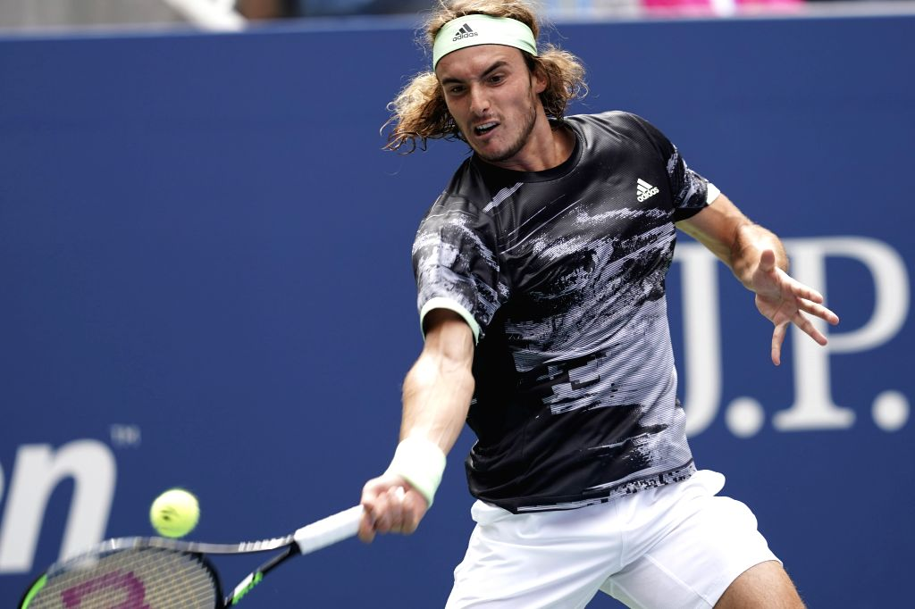 NEW YORK, Aug. 28, 2019 - Stefanos Tsitsipas of Greece hits a return during the men's singles first round match between Andrey Rublev of Russia and Stefanos Tsitsipas of Greece at the 2019 US Open in ...