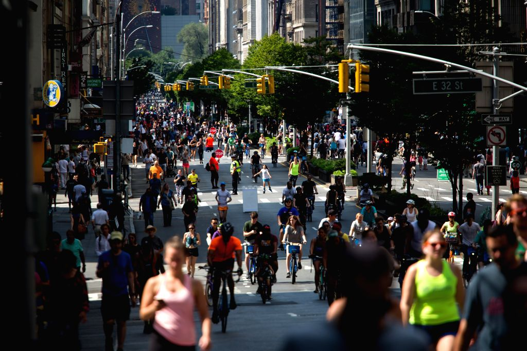 NEW YORK, Aug. 3, 2019 - People participate in the 2019 Summer Streets event in New York, the United States, Aug. 3, 2019. On the first three Saturdays in August between the hours of 7 am and 1 pm, ...