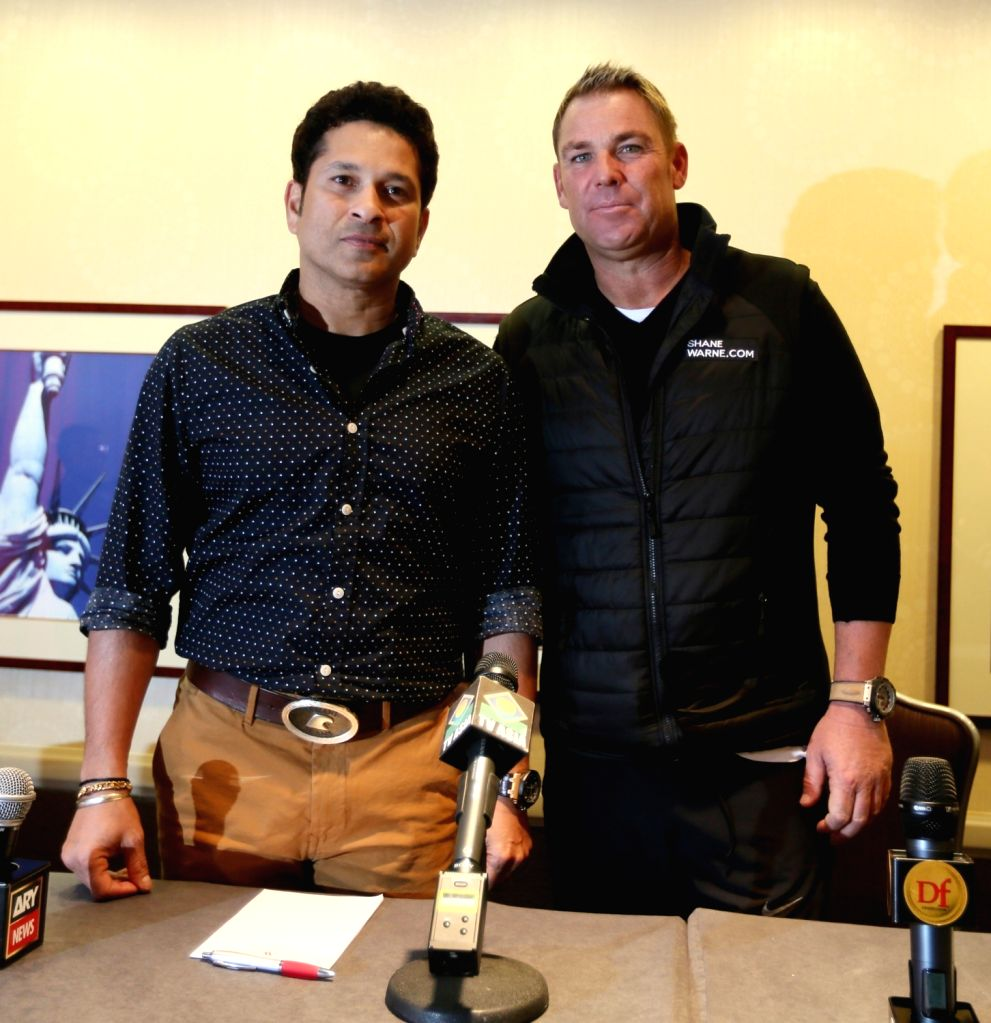 New York: Cricketers Sachin Tendulkar and Shane Warne during a programme in Manhattan, New York City, US on Nov 2, 2015.