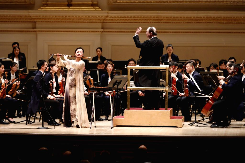 NEW YORK, Dec. 15, 2019 - Symphony Orchestra of the Central Conservatory of Music (CCOM) of Beijing performs at the Carnegie Hall in downtown Manhattan, New York, the United States, Dec. 13, 2019. ...