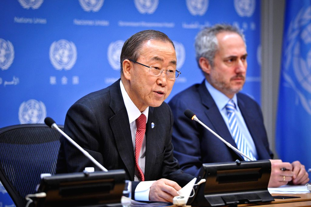 UN Secretary General Ban Ki-moon speaks during his end-of-year press conference at the UN headquarters in New York, on Dec. 17, 2014. The UN chief said Wednesday ..