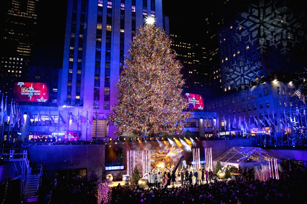 NEW YORK, Dec. 5, 2019 - Photo taken on Dec. 4, 2019 shows the Rockefeller Center Christmas tree after it was lit in New York, the United States. A ceremony was held on Wednesday night in Midtown ...