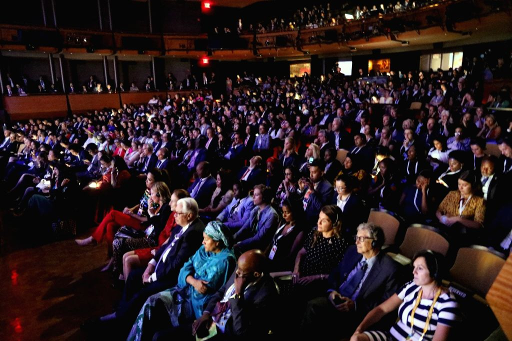 New York: Delegates during a programme where Prime Minister Narendra Modi was conferred the Global Goalkeeper Award by the Bill and Melinda Gates Foundation for the Swachh Bharat mission, in New York ... - Narendra Modi