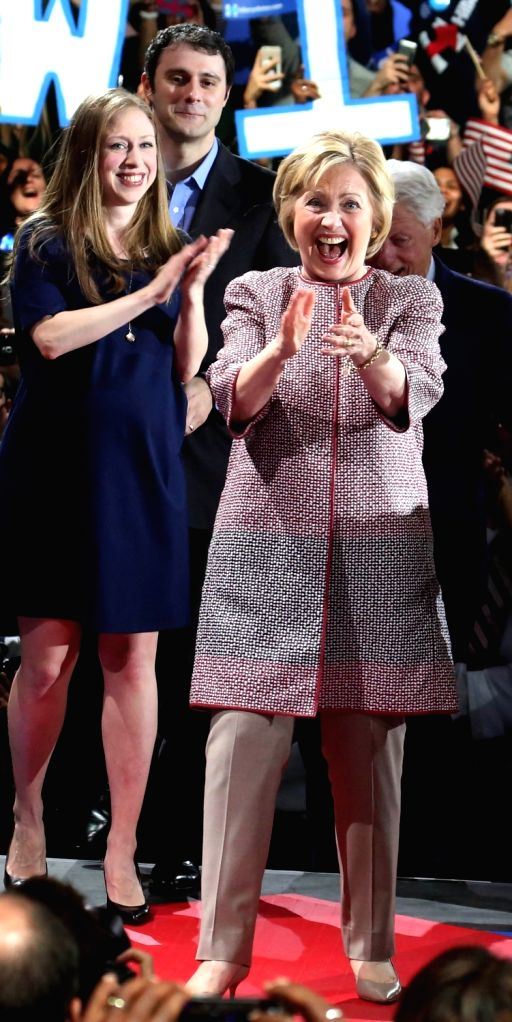 New York: Democratic presidential candidate Hillary Clinton being greeted by public after her victory over Bernie Sanders in New York on April 19, 2016.