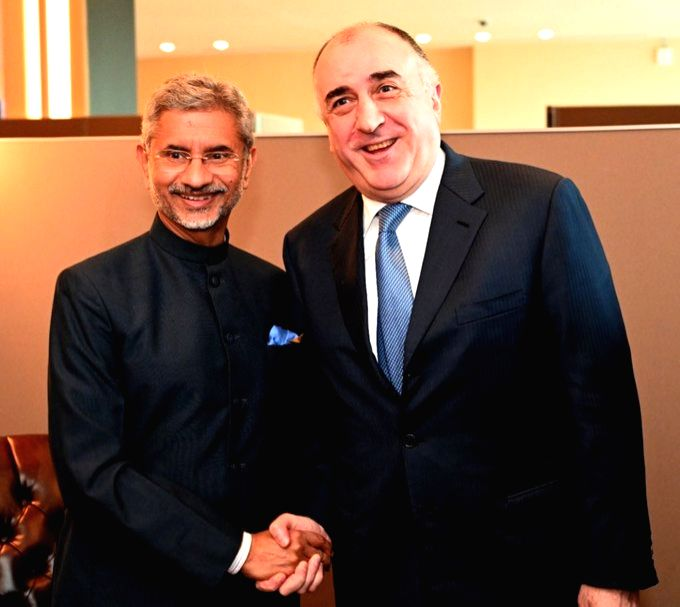 New York: External Affairs Minister S. Jaishankar meets Azerbaijan Foreign Minister Elmar Mammadyarov in New York,  on Sep 27, 2019. - S. Jaishankar