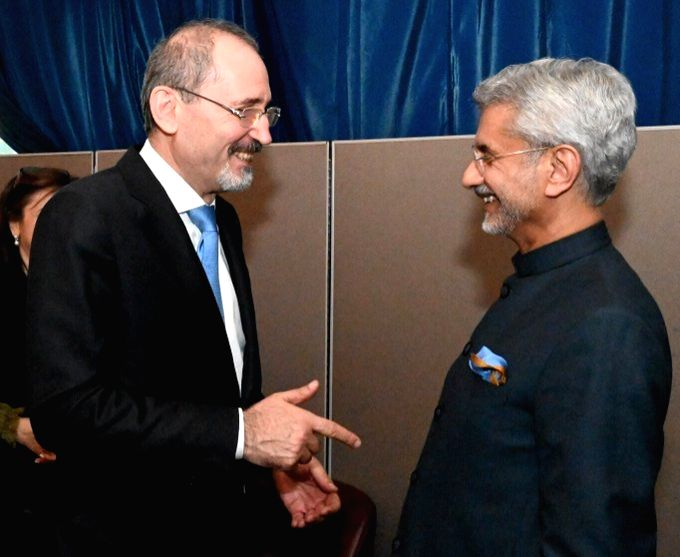 New York: External Affairs Minister S. Jaishankar meets his Jordan counterpart Ayman Safadi in New York, on Sep 27, 2019. - S. Jaishankar