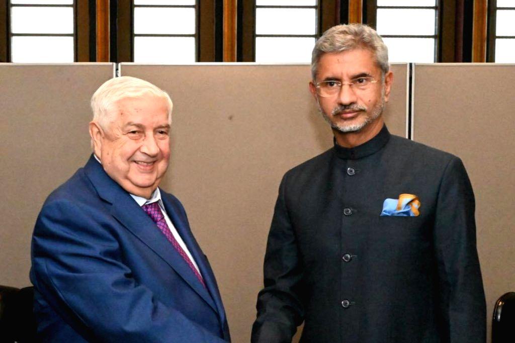 New York: External Affairs Minister S. Jaishankar meets his Syrian counterpart Walid Al-Moualem in New York,  on Sep 27, 2019. - S. Jaishankar