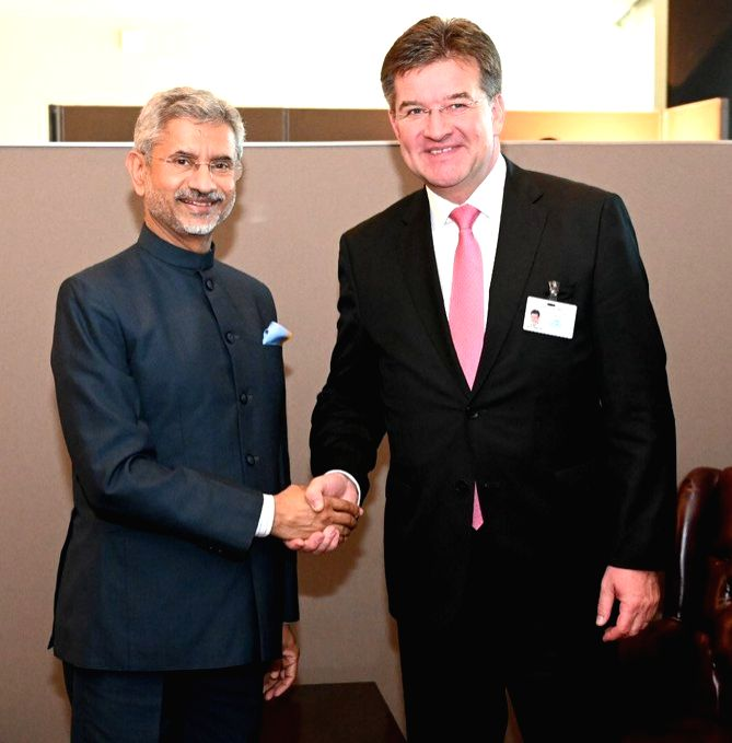 New York: External Affairs Minister S. Jaishankar meets Slovakia Foreign Minister Miroslav Lajcak in New York,  on Sep 27, 2019. - S. Jaishankar