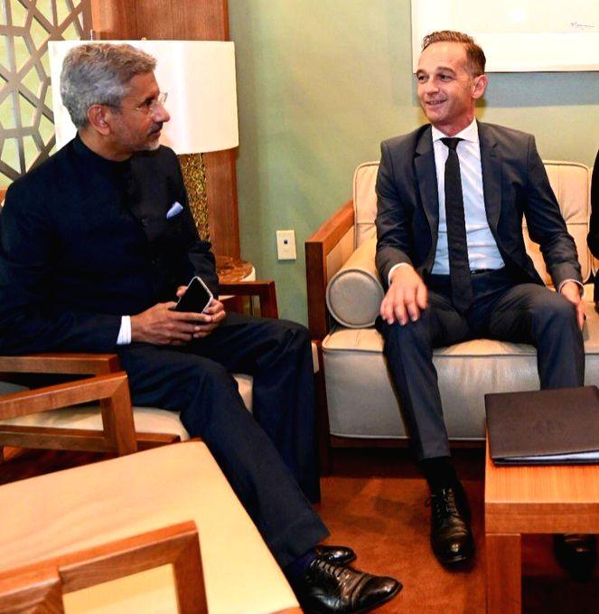 New York: External Affairs Minister S. Jaishankar meets his German counterpart Heiko Maas, in New York on Sep 27, 2019. - S. Jaishankar