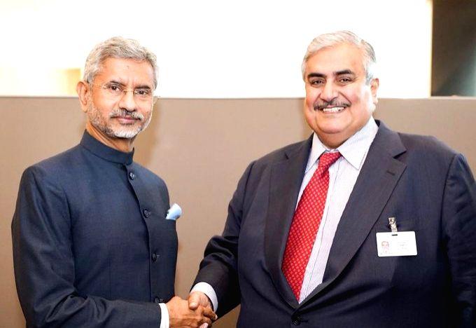 New York: External Affairs Minister S. Jaishankar meets Bahrain Foreign Minister Khalid bin Ahmed Al Khalifa, in New York on Sep 27, 2019. - S. Jaishankar