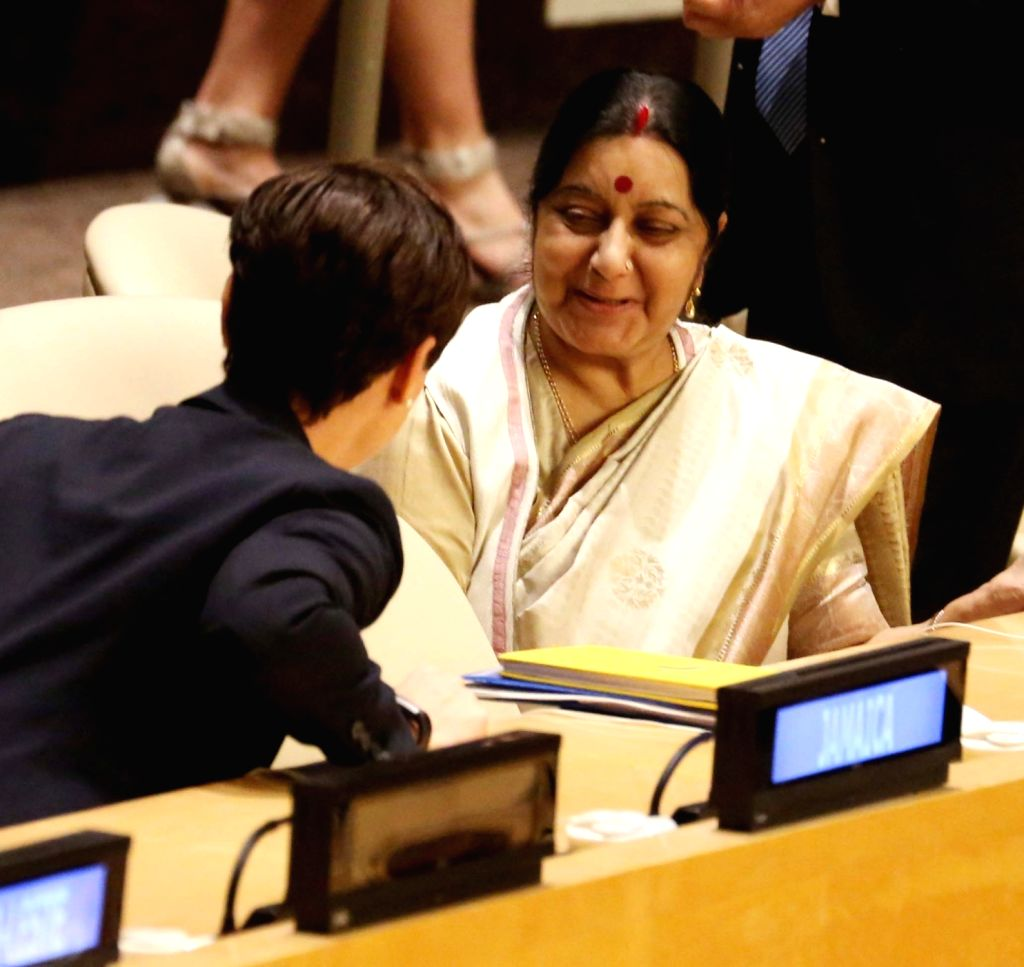 New York: External Affairs Minister Sushma Swaraj during United Nations General Assembly (UNGA) at the United Nations headquarters in New York on Sept. 18, 2017. - Sushma Swaraj