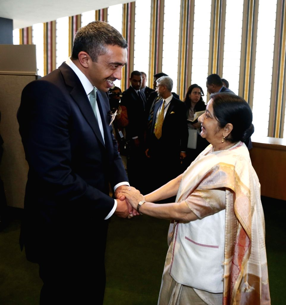 New York: External Affairs Minister Sushma Swaraj meeting UAE Foreign Affairs and International Cooperation Minister Sheikh Abdullah bin Zayed bin Sultan Al Nahyan at the United Nations in New York ... - Sushma Swaraj and Abdullah