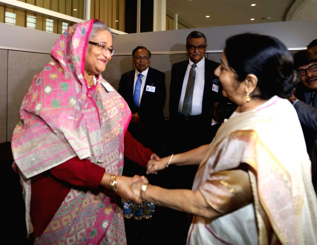 New York: External Affairs Minister Sushma Swaraj meeting Bangladesh Prime Minister Sheikh Hasina at the United Nations in New York on Sept. 18, 2017. - Sushma Swaraj and Hasina