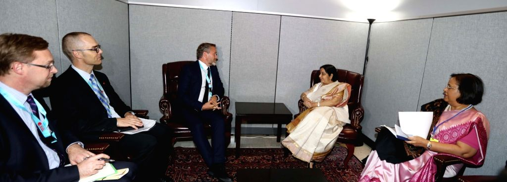 New York: External Affairs Minister Sushma Swaraj meeting Foreign Minister of Denmark Anders Samuelsen at the United Nations in New York on Sept. 18, 2017. - Sushma Swaraj