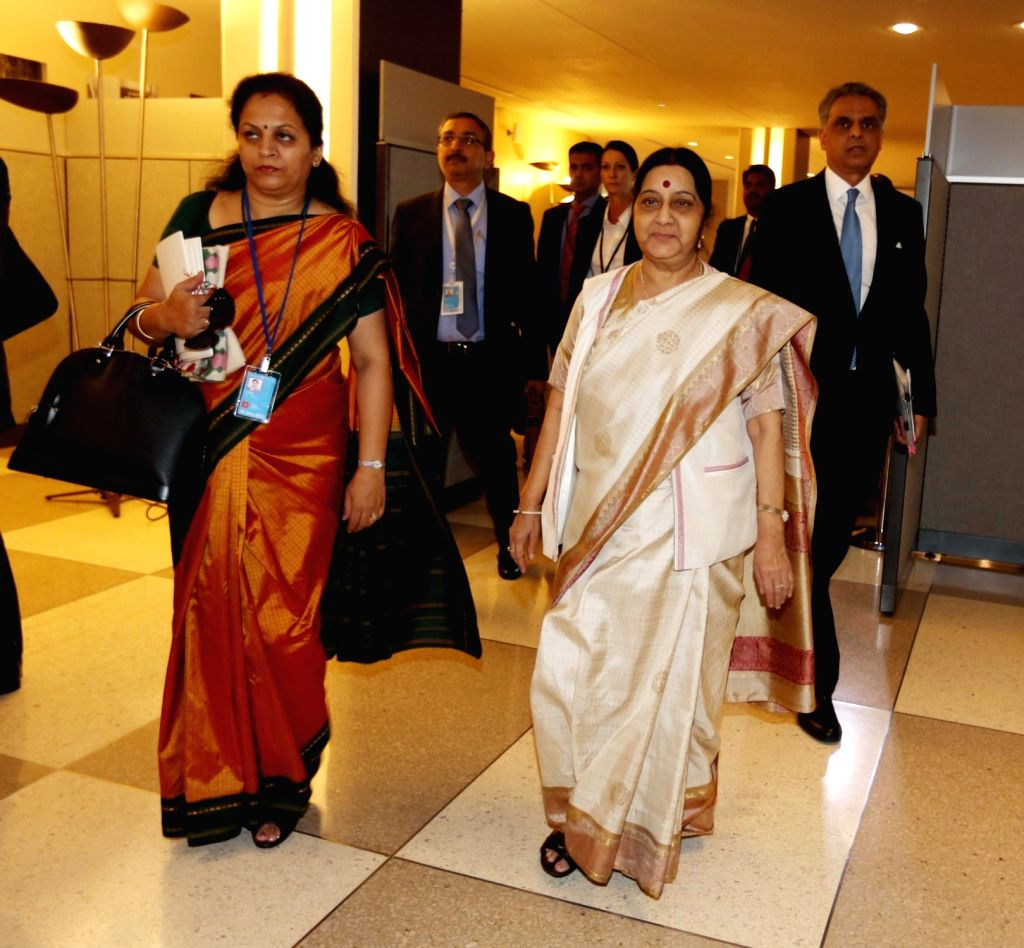 New York: External Affairs Minister Sushma Swaraj during the annual UN General Assembly (UNGA) session at the United Nations headquarters in New York on Sept. 18, 2017. - Sushma Swaraj