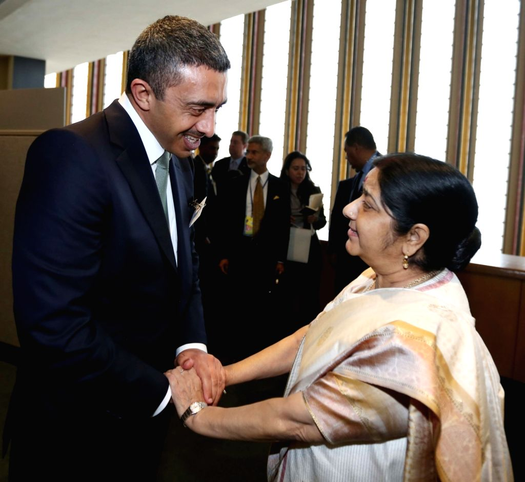 New York: External Affairs Minister Sushma Swaraj meets UAE Foreign Minister Abdullah bin Zayed Al Nahyan on the sidelines of the annual UN General Assembly (UNGA) session at the United Nations ... - Sushma Swaraj
