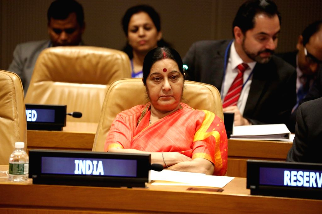 New York: External Affairs Minister Sushma Swaraj attends during a Non-Aligned Movement (NAM) ministerial meeting on Palestine at the United Nations headquarters in New York on Sept 19, 2017. - Sushma Swaraj