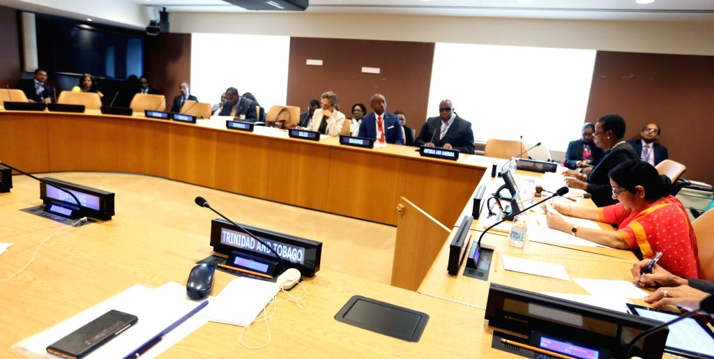 New York: External Affairs Minister Sushma Swaraj attends Caribbean Community (CARICOM) meeting at the United Nations headquarters in New York on Sept 19, 2017. - Sushma Swaraj