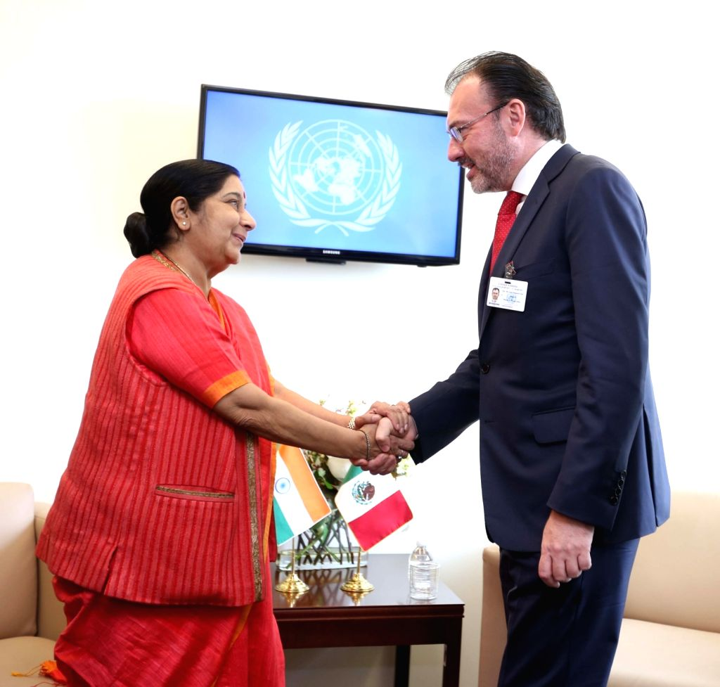 New York: External Affairs Minister Sushma Swaraj meets Mexican Foreign Minister Luis Videgaray Caso on the sidelines of the annual UN General Assembly (UNGA) session at the United Nations ... - Sushma Swaraj