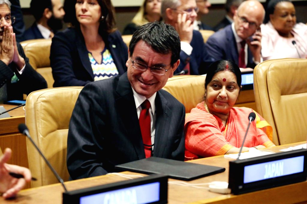 New York: External Affairs Minister Sushma Swaraj with world leaders at the UN meeting on climate change in New York on Sept. 19, 2017. - Sushma Swaraj