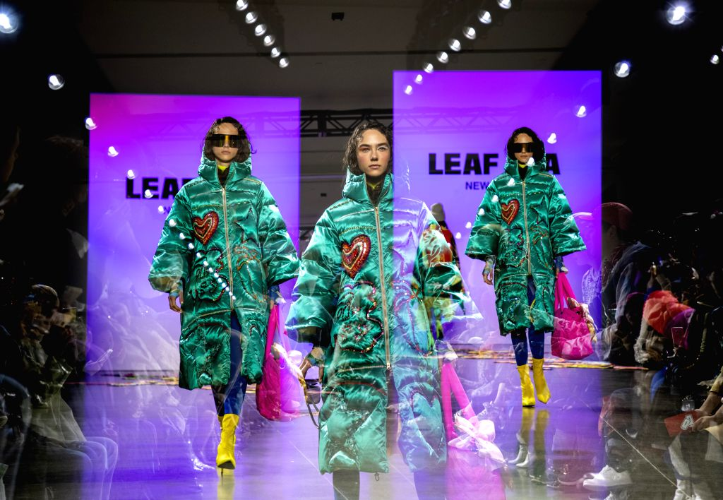 NEW YORK, Feb. 13, 2019 - The multi-exposure photo taken on Feb. 13, 2019 shows a model presenting a creation of LEAF XIA Fall/Winter 2019 collection during the New York Fashion Week in New York, the ...
