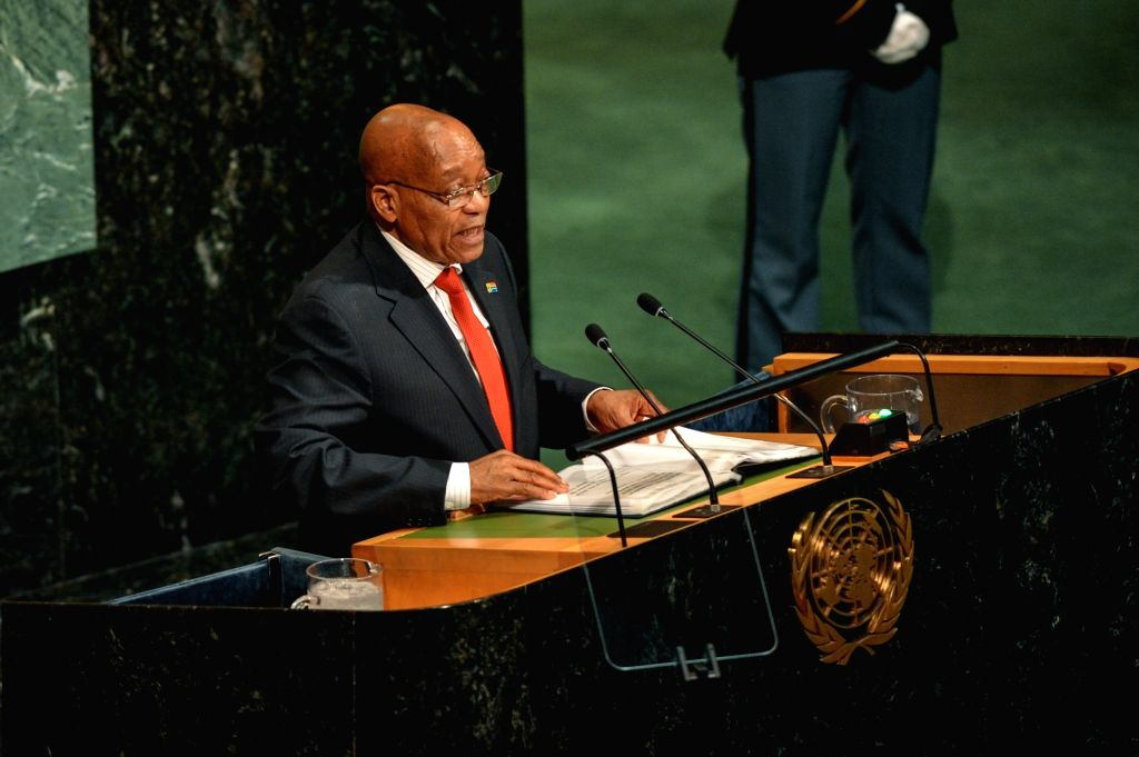 NEW YORK, Feb. 14, 2018 (Xinhua) -- File photo taken on Sept. 20, 2017 shows that South African President Jacob Zuma addresses the 72nd session of United Nations General Assembly on the second day of the general debate at the UN headquarters in New Y