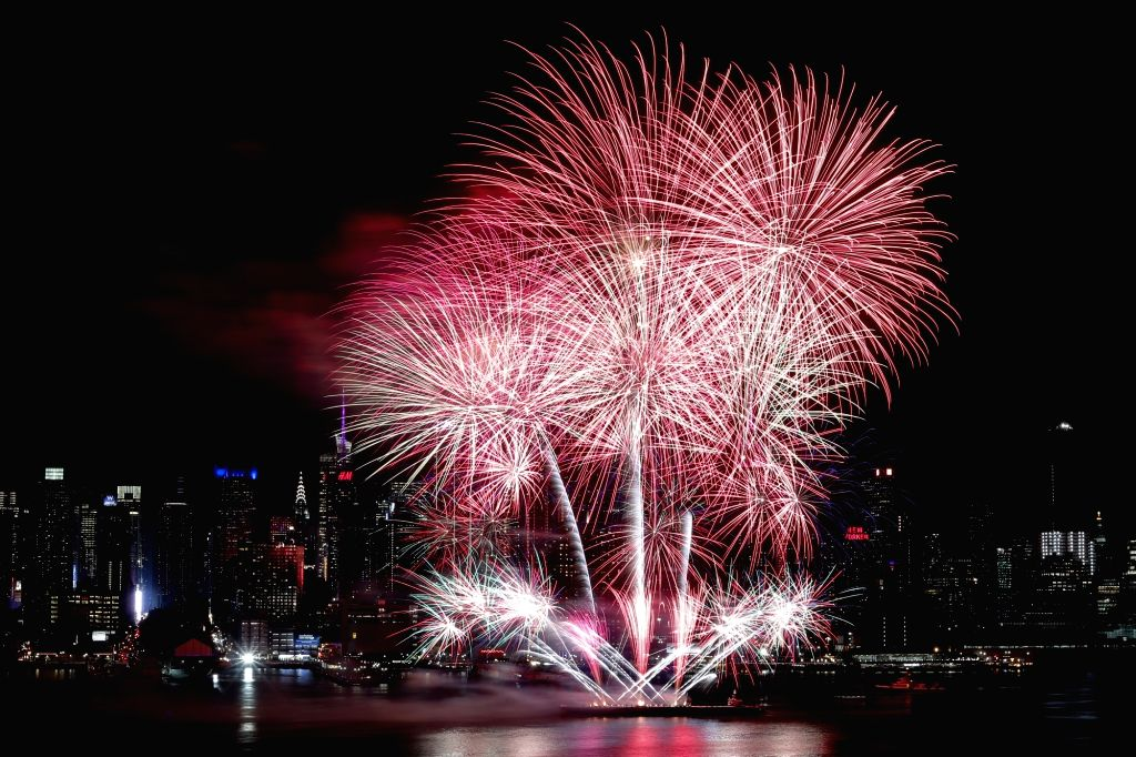 NEW YORK, Feb. 15, 2018 - Fireworks light up the sky over the Hudson River in the celebrations of the Chinese Lunar New Year in New York, the United States, Feb. 14, 2018.