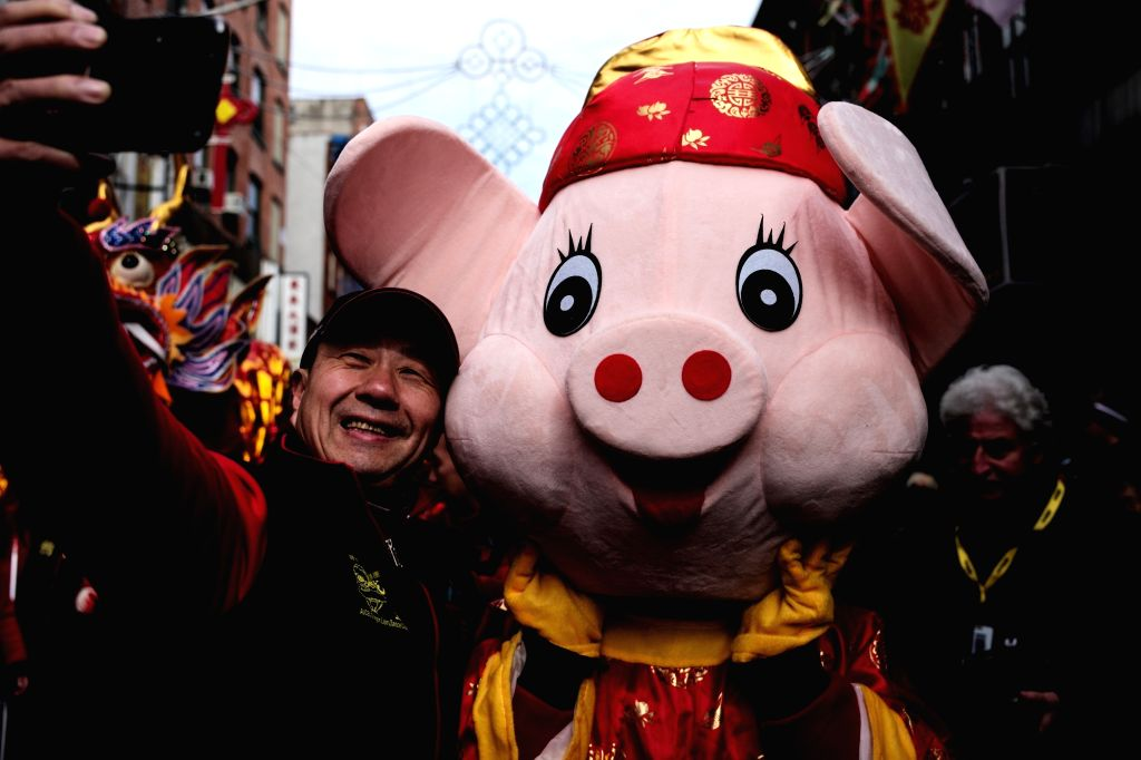 NEW YORK, Feb. 18, 2019 - A man takes a selfie with a pig mascot during the Chinese Lunar New Year parade in Manhattan's Chinatown of New York City, the United States, Feb. 17, 2019.