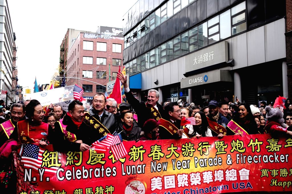NEW YORK, Feb. 18, 2019 - New York City Mayor Bill de Blasio participates in the Chinese Lunar New Year parade in Manhattan's Chinatown of New York City, the United States, Feb. 17, 2019.