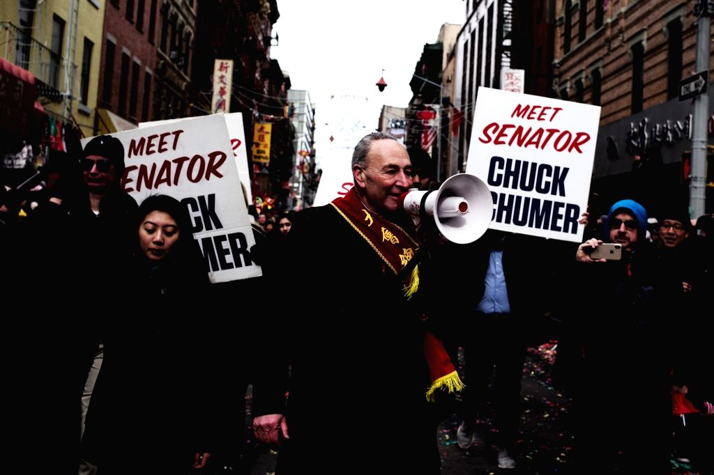 NEW YORK, Feb. 18, 2019 - U.S. Senate Minority er Chuck Schumer participates in the Chinese Lunar New Year parade in Manhattan's Chinatown of New York City, the United States, Feb. 17, 2019.