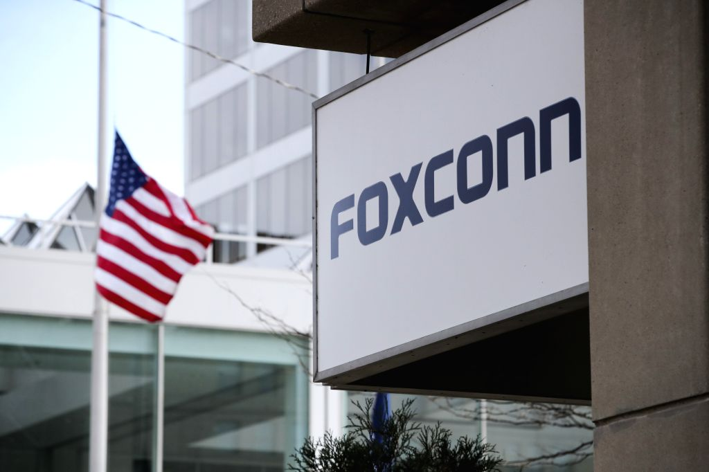 NEW YORK, Feb. 2, 2019 - The sign of Foxconn is seen on an office building of Foxconn in Milwaukee, Wisconsin, the United States, Nov. 2, 2018. Residents' opposition, labor shortage, and technology ...