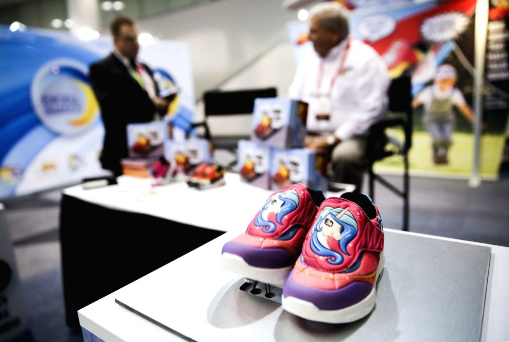 NEW YORK, Feb. 25, 2019 - Products of Choo Choo Shoes are seen at the company's booth during the 116th Annual North American International Toy Fair at the Jacob K. Javits Convention Center in New ...