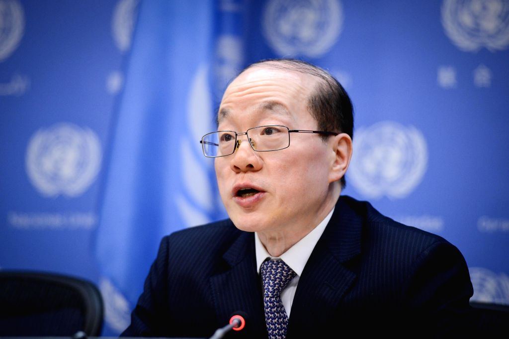 Liu Jieyi, China's permanent representative to the United Nations and rotating presidency of the Security Council for the month of February, speaks during a press .. - Wang Y