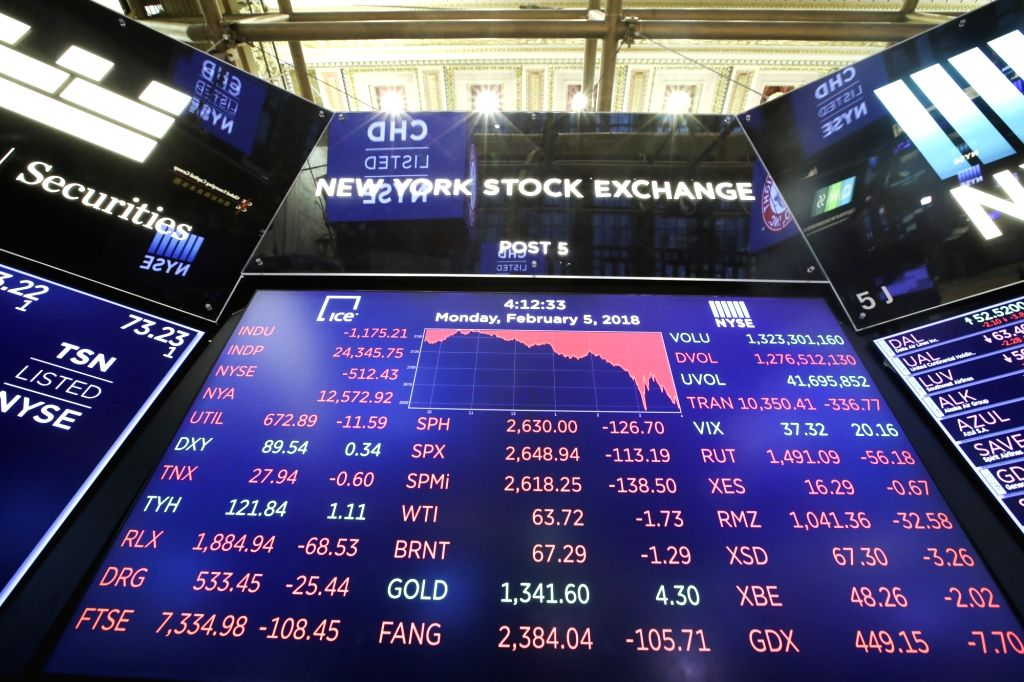 NEW YORK, Feb. 5, 2018 (Xinhua) -- An electronic screen displaying trading data is seen at the New York Stock Exchange in New York, the United States, on Feb. 5, 2018. U.S. stocks closed sharply lower on Monday, with the Dow plummeting 4.60 percent,