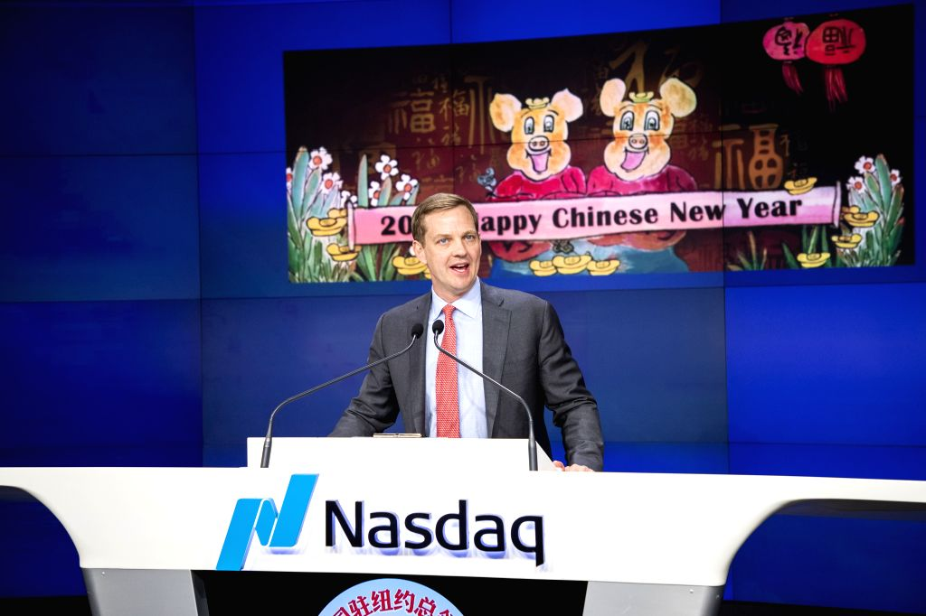 NEW YORK, Feb. 5, 2019 - Nelson Griggs, president of Nasdaq Stock Exchange, delivers a speech at the opening bell ringing ceremony at Nasdaq Stock Exchange in New York, the United States, Feb. 4, ...